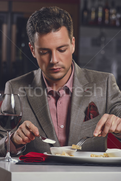 Businessman having dinner Stock photo © photosebia