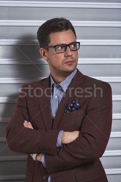 élégant homme élégant gentleman posant bras Photo stock © photosebia