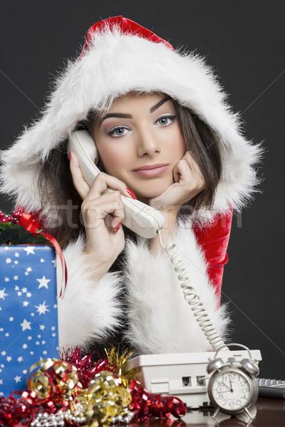 Stockfoto: Meisje · praten · telefoon · portret · prachtig
