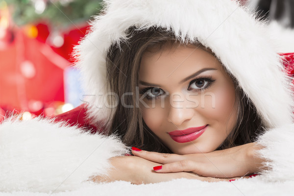 Portrait of beautiful woman Santa helper Stock photo © photosebia