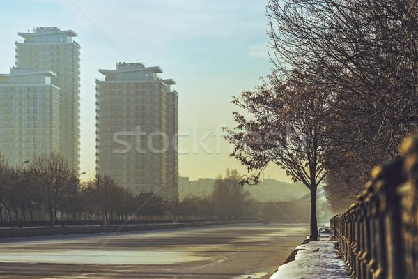 Бухарест Cityscape утра современных высокий банка Сток-фото © photosebia