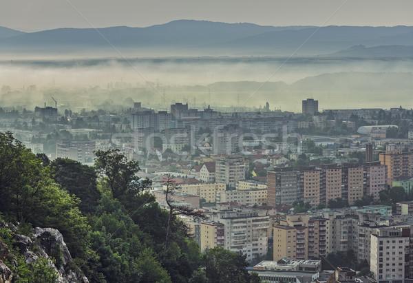 Misty mattina cityscape residenziale città Foto d'archivio © photosebia
