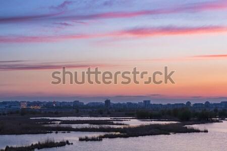 закат Purple Бухарест озеро пейзаж оранжевый Сток-фото © photosebia