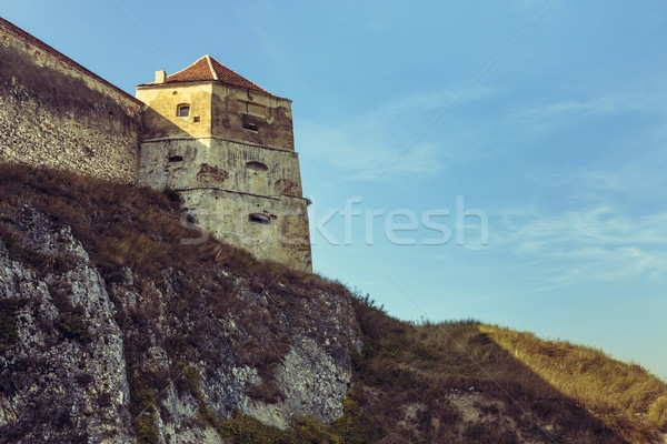 Medieval tower and defence walls of Rasnov citadel Stock photo © photosebia
