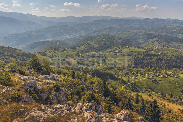Scenic aerial Romanian panorama Stock photo © photosebia
