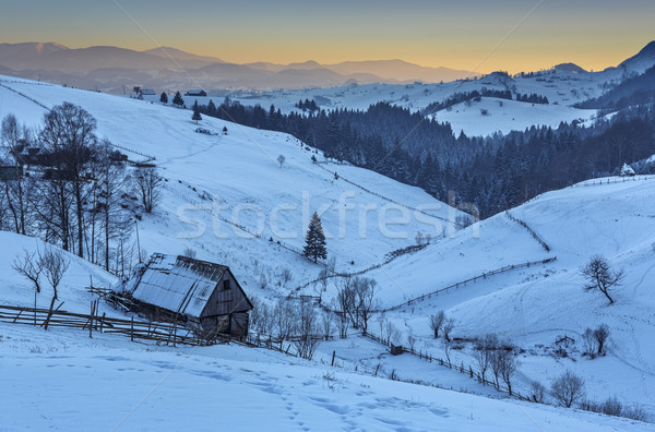 Winter morning in Transylvania, Romania Stock photo © photosebia
