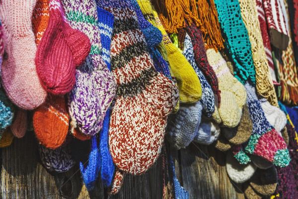 ストックフォト: 伝統的な · ハンドメイド · 靴下 · クローズアップ · ストッキング · 貿易