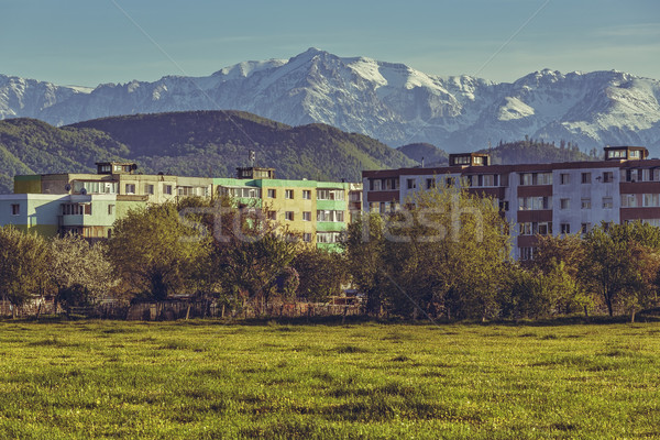 Mountain landscape with block of flats Stock photo © photosebia