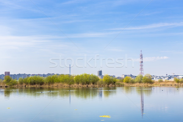 City suburbs and lake Stock photo © photosebia