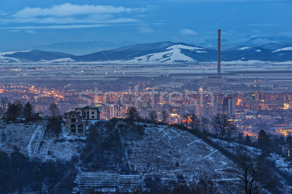 Brasov winter cityscape at dusk Stock photo © photosebia
