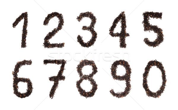 Chá números conjunto isolado branco escolas Foto stock © photosil
