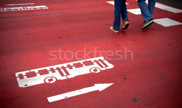 автобус знак красный движения направлении Сток-фото © photosil