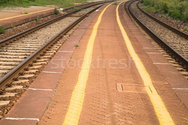 железная дорога желтый окрашенный линия трава Сток-фото © photosil