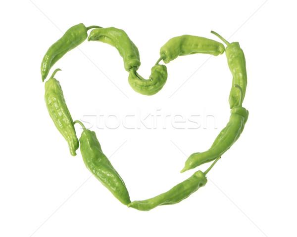Foto stock: Coração · pimentas · verde · fundo · branco · vegetal