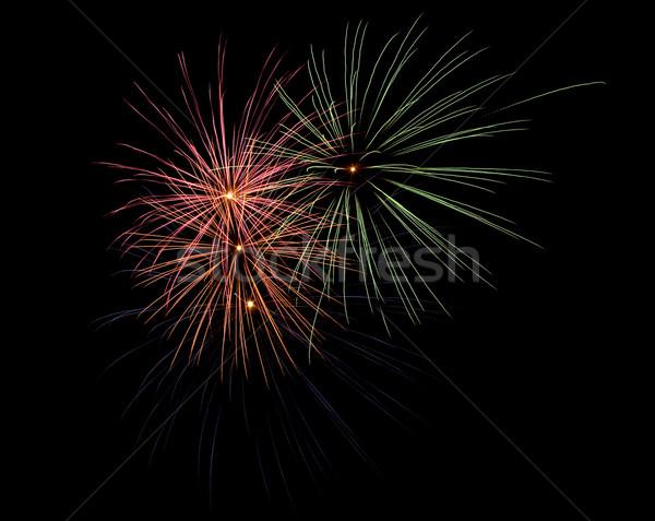 Fogos de artifício céu noturno luz fundo noite diversão Foto stock © photosil