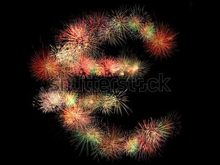 Euro fogos de artifício assinar preto negócio projeto Foto stock © photosil