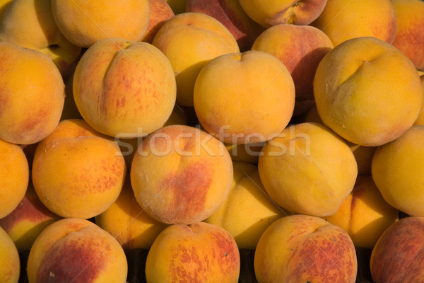Pêssegos azulejos fresco amarelo comida grupo Foto stock © photosil