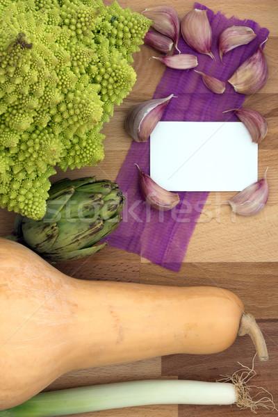 Foto stock: Comida · legumes · conselho · branco · cartão · texto