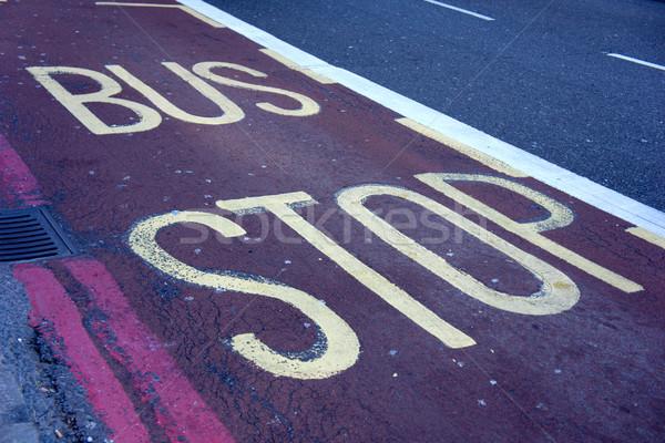 Otobüs durağı imzalamak boyalı kırmızı otobüs Stok fotoğraf © photosil