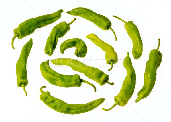 Pimentas verde isolado branco fundo vegetal Foto stock © photosil
