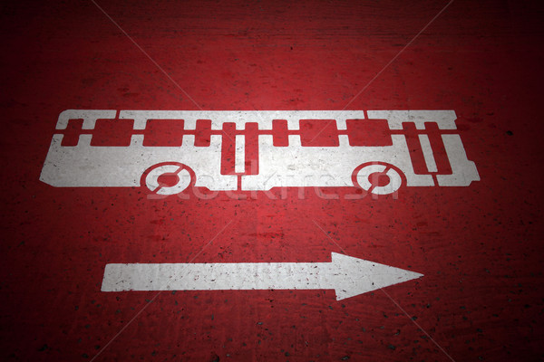 Bus and traffic direction sign Stock photo © photosil