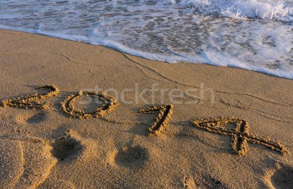 год 2014 пляж написанный песок воды Сток-фото © photosil