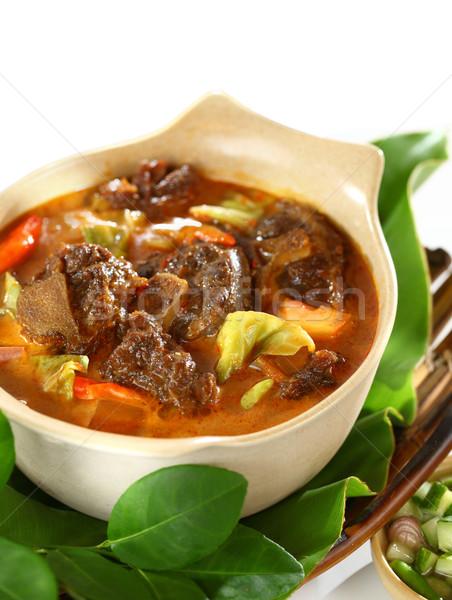 Koyun eti köri sos hizmet pirinç stil Stok fotoğraf © photosoup