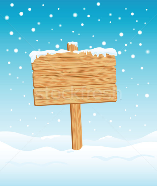 Blank Wooden Sign in Winter Stock photo © photosoup