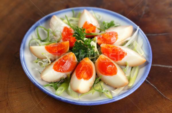 Szója marinált főtt tojások japán edény Stock fotó © photosoup