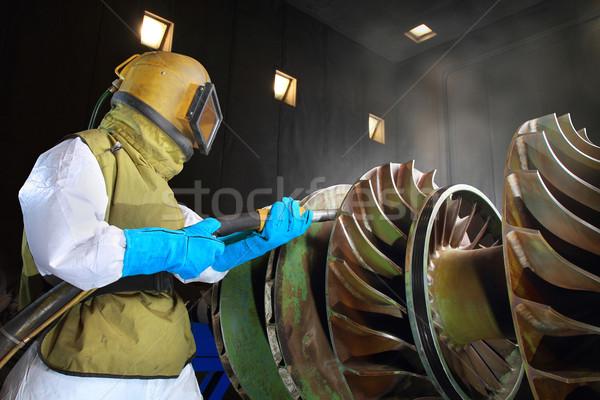 Munkás dolgozik munka homok gyár maszk Stock fotó © photosoup