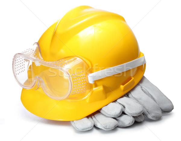 Biztonsági berendezés szabvány építkezés szemüveg munkás ipari Stock fotó © photosoup