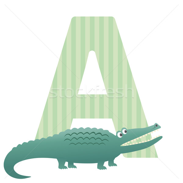 Brief alligator illustratie kinderen groene tanden Stockfoto © photosoup