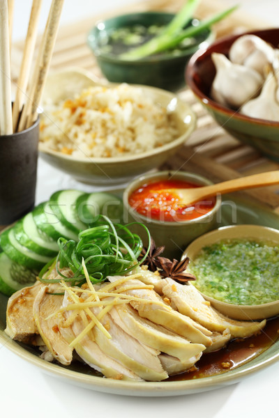 Asian food Chicken and Rice Stock photo © photosoup