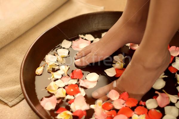Ayak spa aromaterapi ayaklar çanak su Stok fotoğraf © photosoup