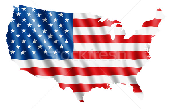 America Flag Map Stock photo © photosoup