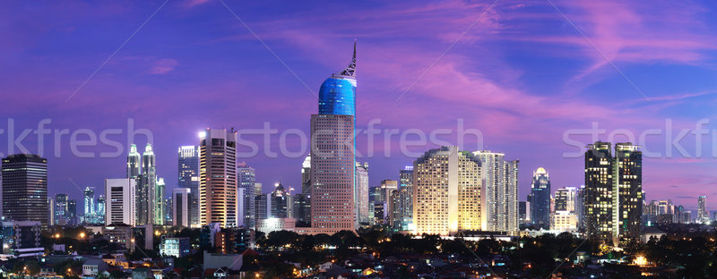 Jakarta ville coucher du soleil panoramique cityscape Indonésie Photo stock © photosoup