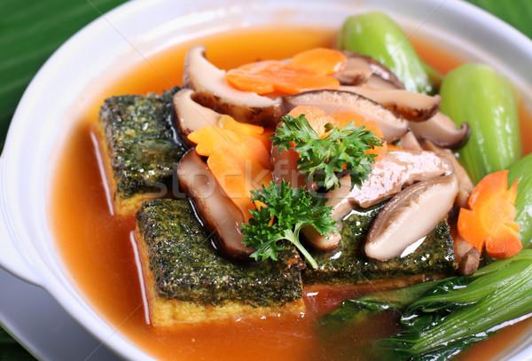 Crispy beancurd and mushroom dish Stock photo © photosoup