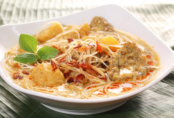 Kókusz curry tészta marhahús leves vacsora Stock fotó © photosoup