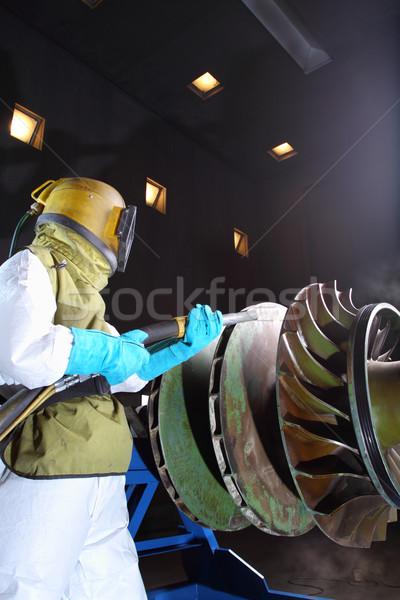 Munkás dolgozik füst szoba gyár ipari Stock fotó © photosoup