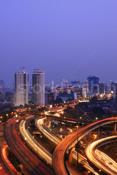 Stock photo: Night city with multiple flyovers