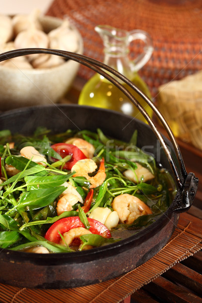 Hot plate seafood water spinach Stock photo © photosoup