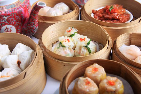 Variedad dim sum bambú vapor pollo cena Foto stock © photosoup