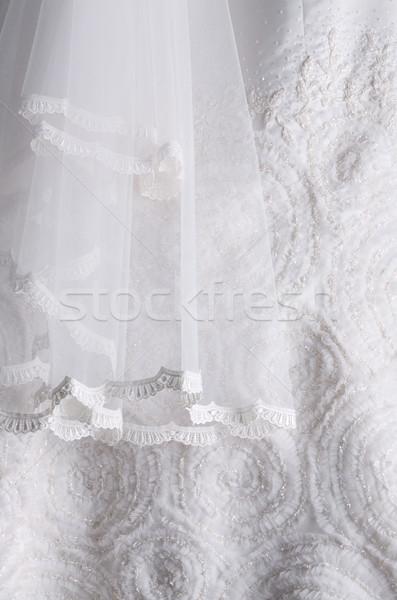 Beyaz gelinlik detay gelinlik doku Stok fotoğraf © photosoup