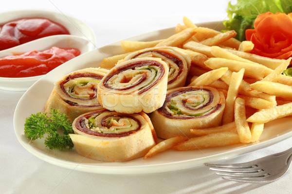 Espiral sándwich aperitivo aperitivos servido Foto stock © photosoup