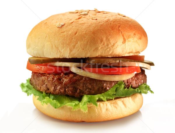 Hamburger finom lédús grillezett hamburger búza Stock fotó © photosoup