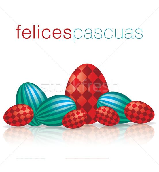 Iyi paskalyalar yumurta yansıma kart vektör format Stok fotoğraf © piccola
