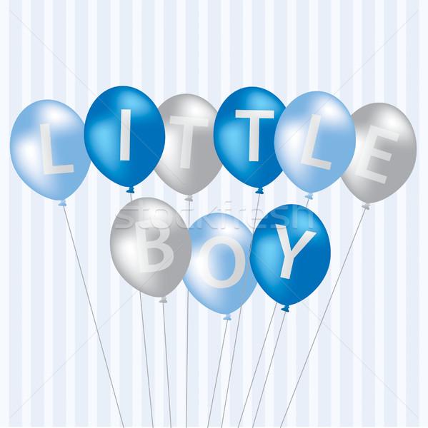 Kicsi fiú kék léggömb kártya vektor Stock fotó © piccola
