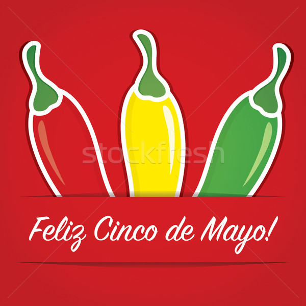 'Feliz Cinco de Mayo' (Happy 5th of May) paper cut out card Stock photo © piccola
