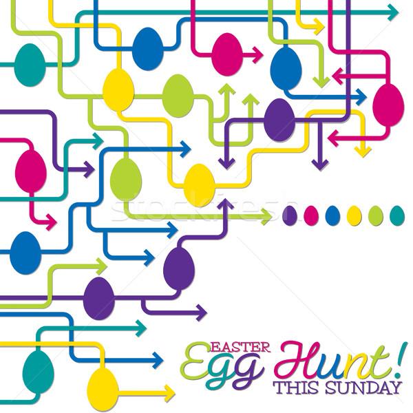 Easter egg hunt poster vektör format Paskalya kâğıt Stok fotoğraf © piccola