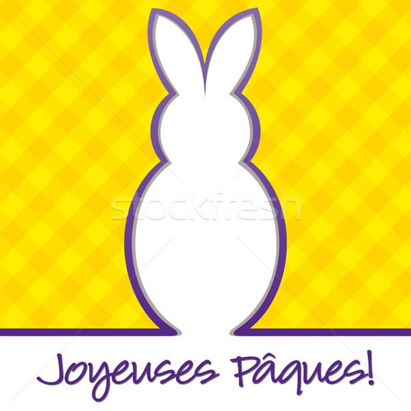 Stockfoto: Frans · vrolijk · pasen · heldere · bunny · kaart